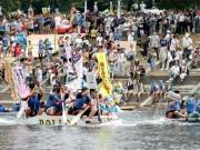 多摩川で恒例「いかだレース」 今年は91チーム、五輪メダリストやタレントも参加
