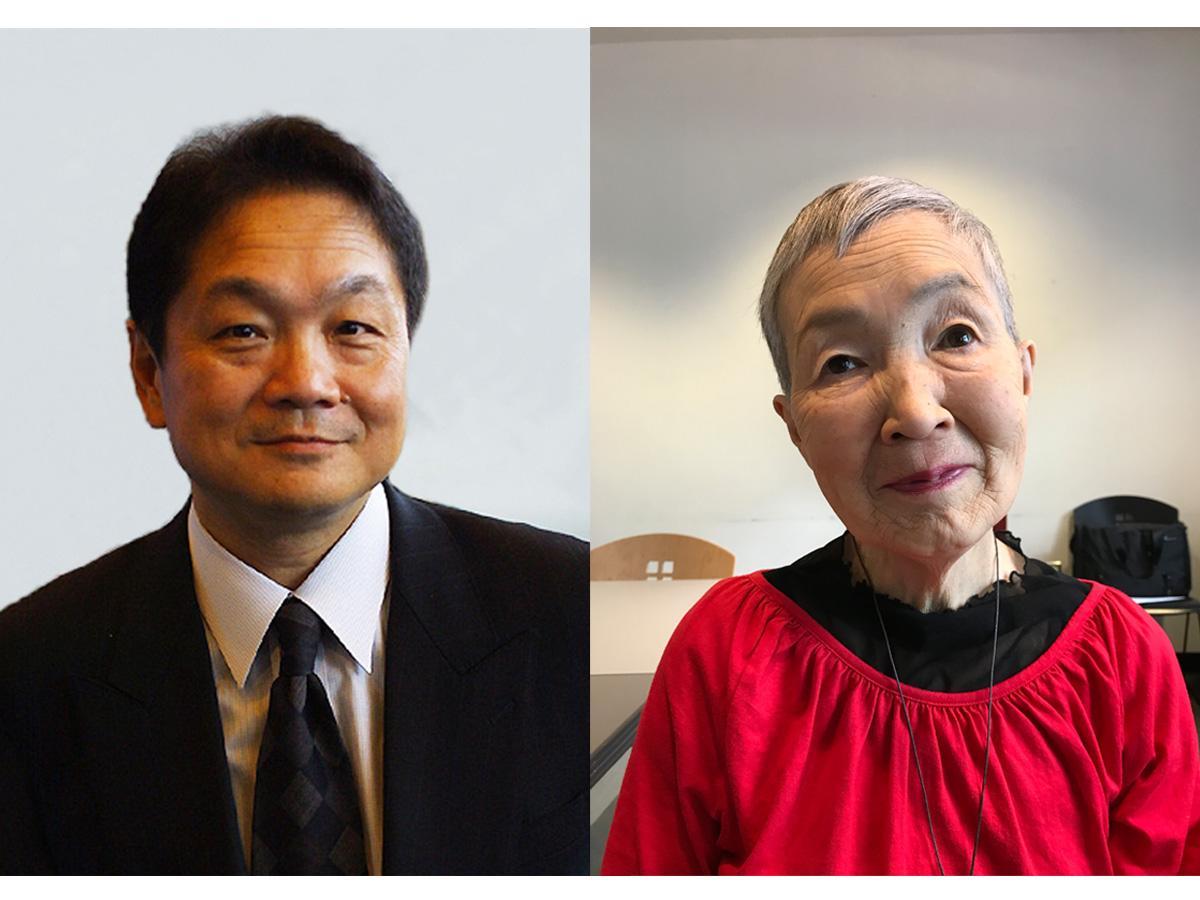 「PlayStation」の生みの親である久夛良木健(くたらぎけん)さん(左)と「リケ老」のカリスマ若宮正子さん(82歳)(右)