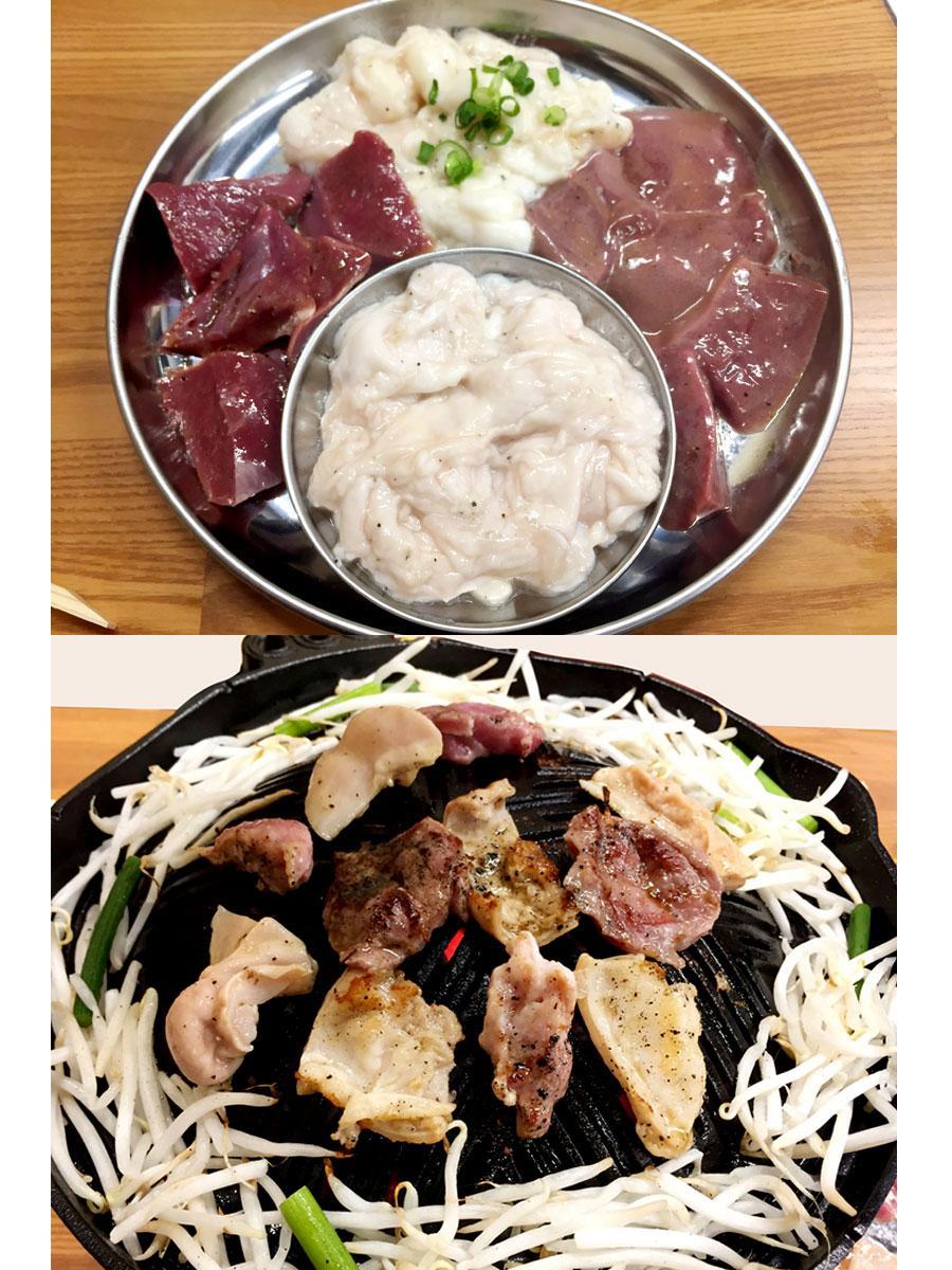 「おまかせ熟成ホルモンMIX(1人前)」(上)とジンギスカン鍋で熟成ホルモンを焼く様子