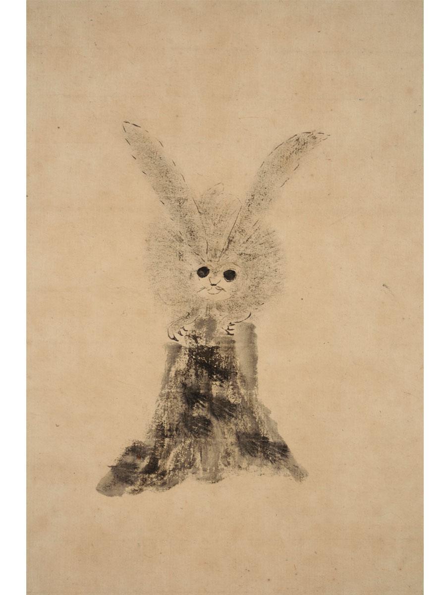 徳川家光の『兎図』(部分)。サングラスのような目、切り株の上にちょこんとたたず む姿など、まったく技巧にとらわれない絵がほほ笑ましい