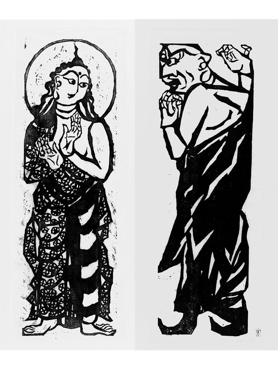 左:「二菩薩釈迦十大弟子」より普賢(ふげん)菩薩の柵(1939年) 右:「二菩薩釈迦十大弟子」より富樓那(ふるな)菩薩の柵(1939年) どちらも一般財団法人棟方志功記念館蔵