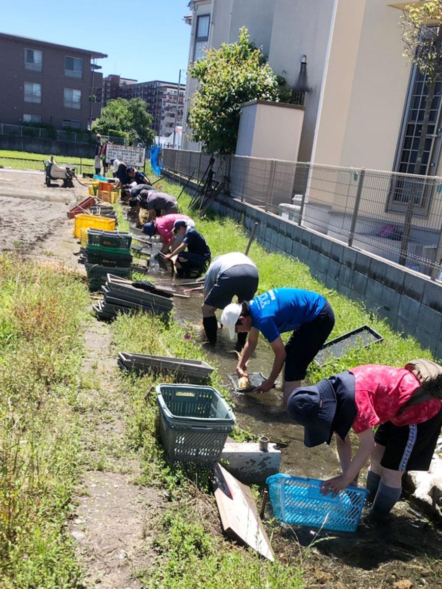 昨年収穫したわらを使い、使用した籠や鍬(くわ)を洗う「馬鍬洗い(まんがあらい)」様子