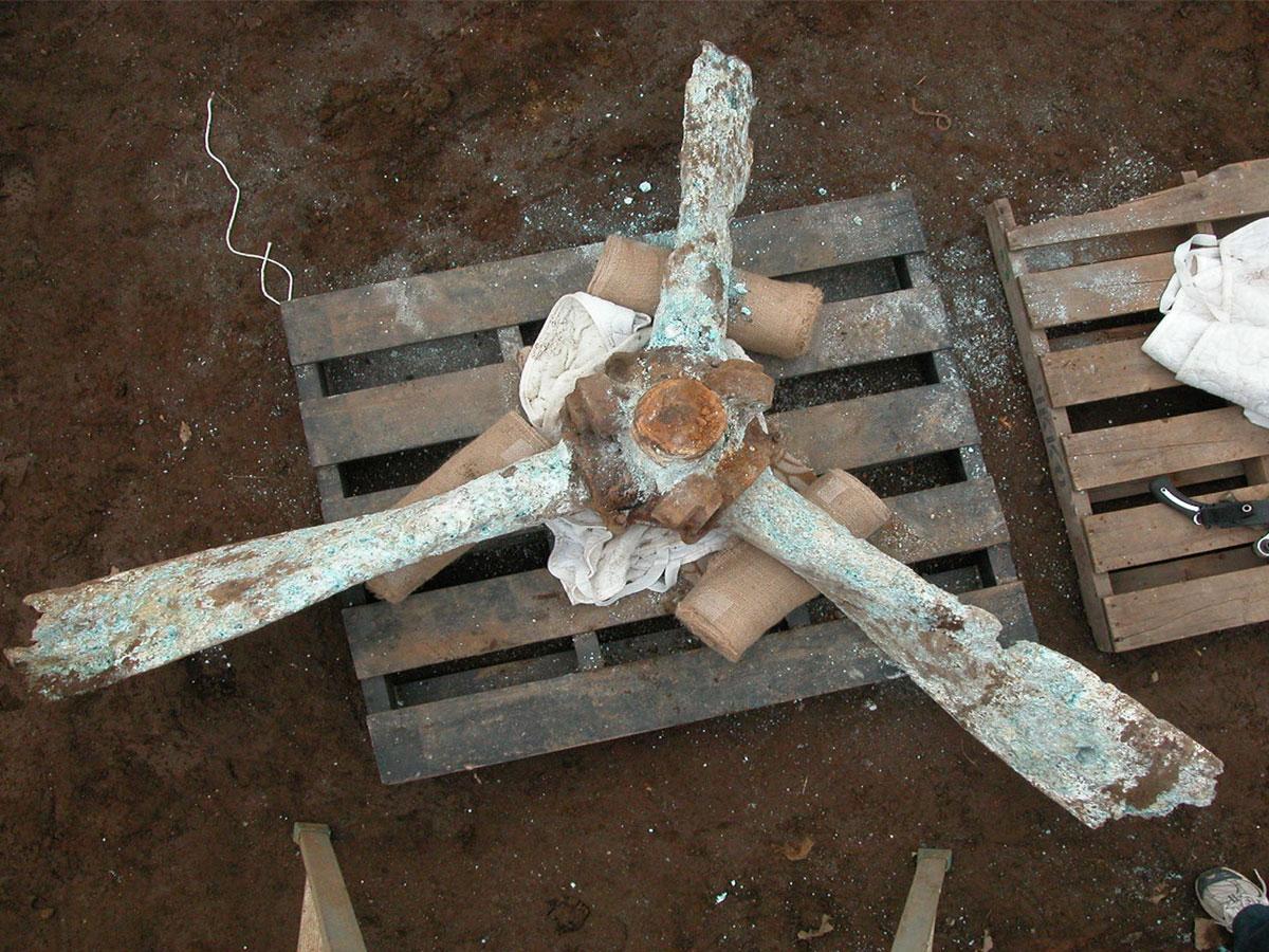 発見された戦闘機「飛燕」のプロペラ