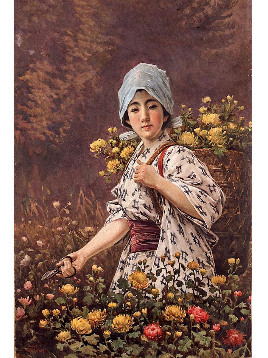 笠木治郎吉「花を摘む少女」(水彩・紙 星野画廊蔵)