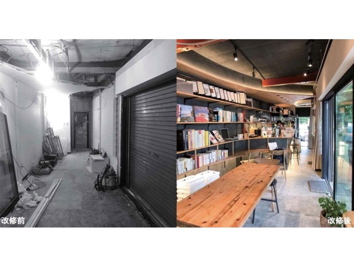 「空き家×カフェスタンプラリー」の拠点「FUJIMI LOUNGE」の改修前と後 酒屋からカフェにリノベーション