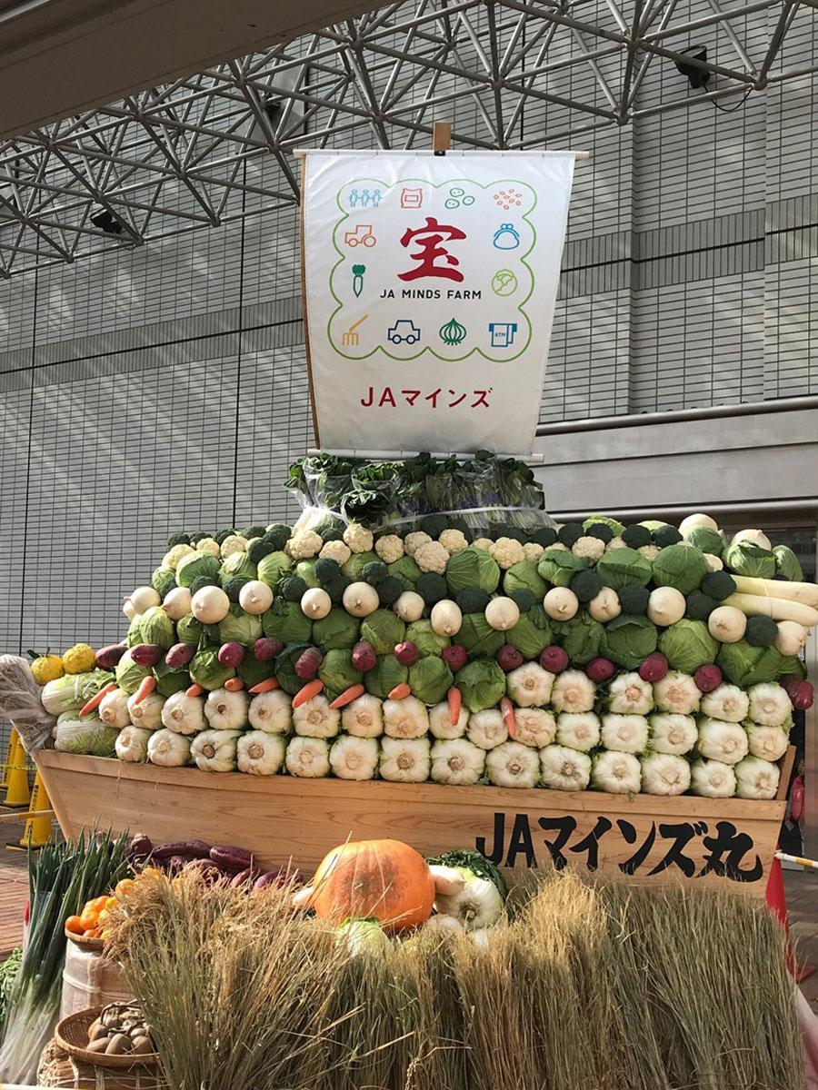 調布農業まつりで展示、チャリティー販売される宝船