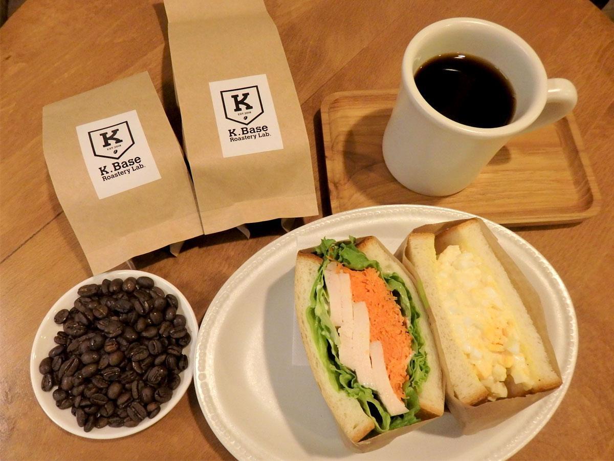 K.Base Roastery Lab.のコーヒー豆、ハンドドリップコーヒー、タマゴ&サラダのミックスサンド