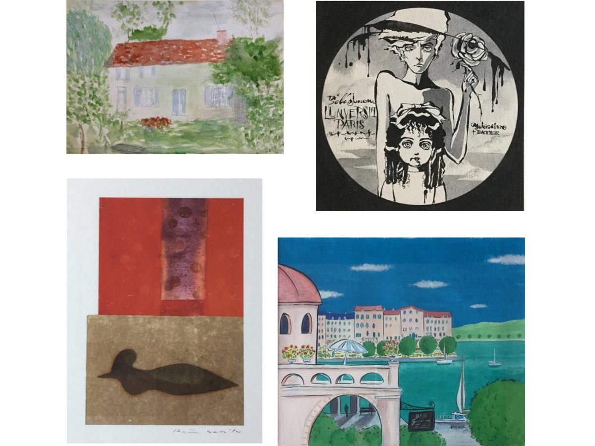 スナオさん(左上)、ペーター佐藤さん(右上)、脇田愛二郎さん(左下)、まちひろしさん(右下)の作品