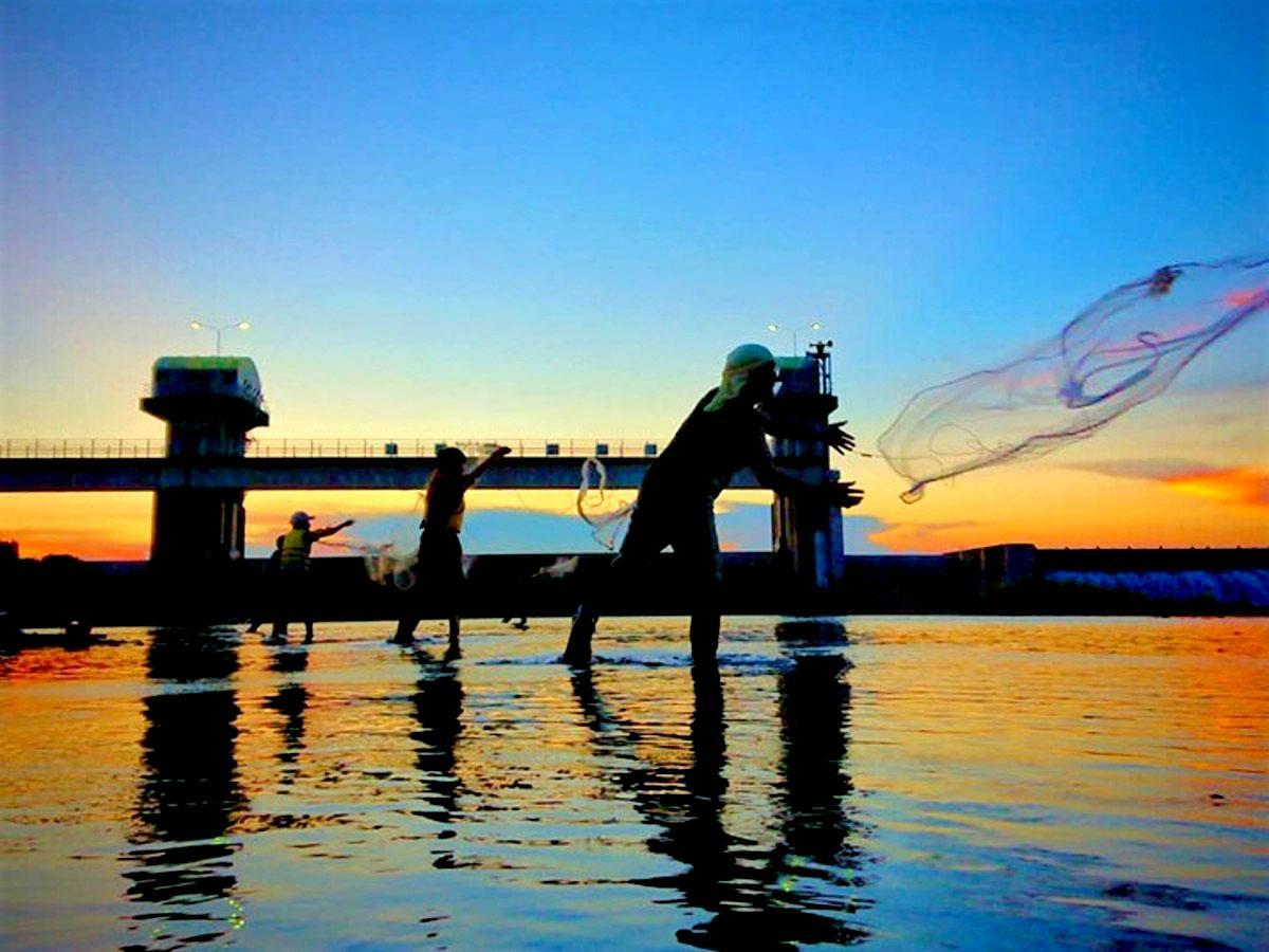 夕暮れの多摩川、アユ投網体験の様子