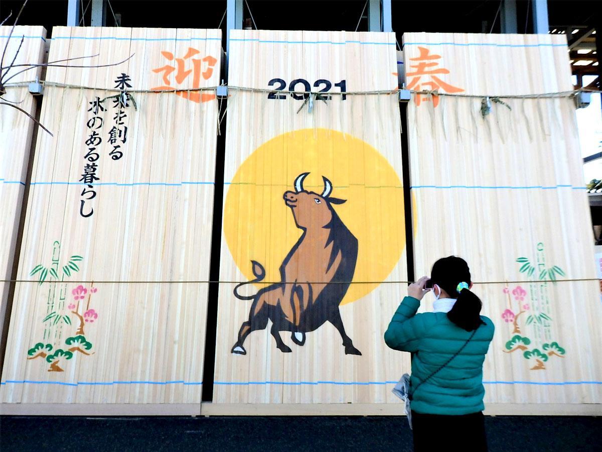遠州屋材木店の林場を飾る力強い「丑(うし)」の干支看板