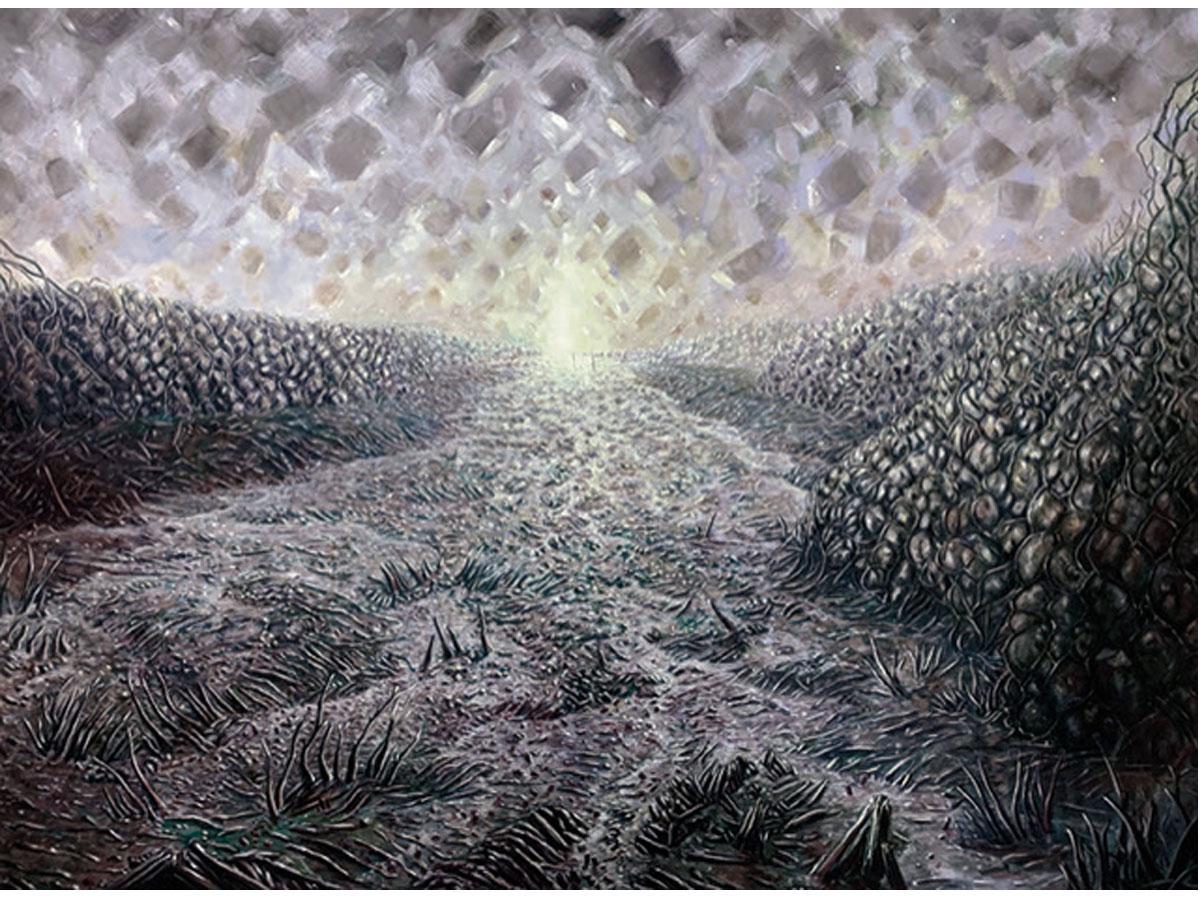 名倉歩「Gray landscape」油彩・キャンバス 1940×2590mm 2021年