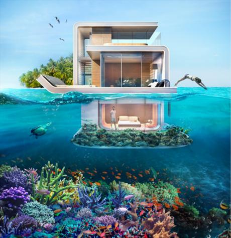 1階部分は完全に海の中にある設計となっている