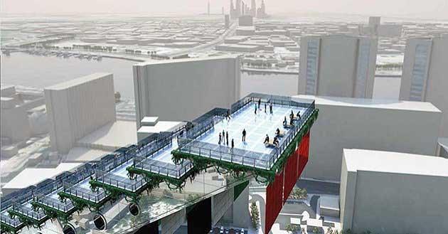 ドバイの街並みを見下ろす巨大階段プロジェクト
