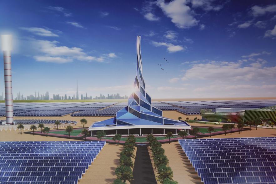 ドバイ電気水道局DEWAが発表したソーラーパークの完成予想図