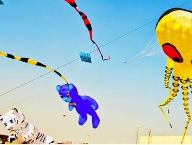 カラフルでさまざまな形の凧が舞う © Kite Fiesta