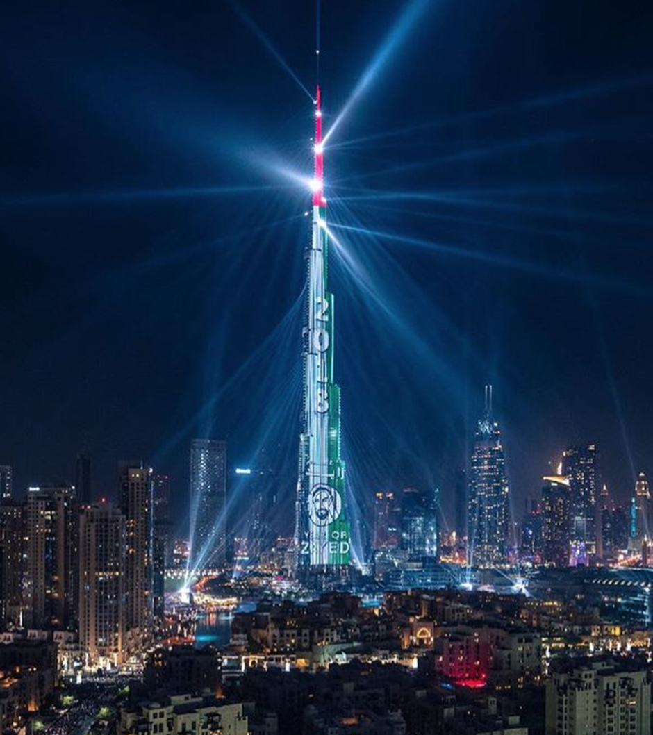 新年とザイードの年を祝うブルジュ・カリファ © Burj Khalifa