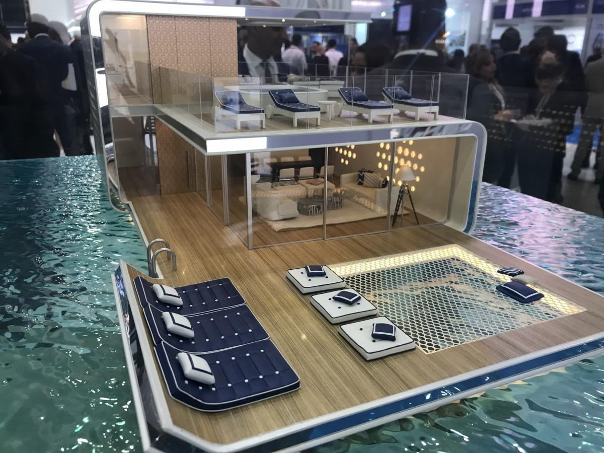 ベントレー社の家具を使用した海上ヴィラ