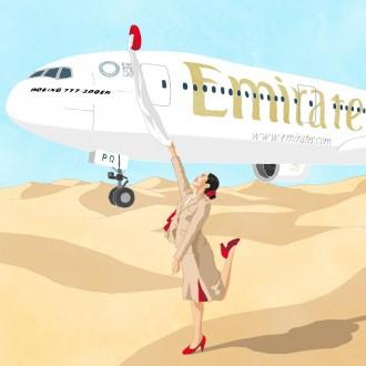 エミレーツ航空の従業員に無料イラスト 在ドバイ日本人が航空業界支援