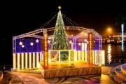 南港ATCにクリスマスツリー 大阪・関西万博の成功祈願、万博カラー5色で彩る