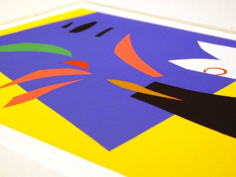 三田村さんの作品より。くっきりした境界線をマスキングテープで作り出す