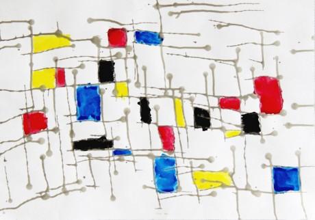 肢体障がいを持つ生徒が描いた作品。筆を走らせる代わりに紙を傾けて線を描き、色付けしたという