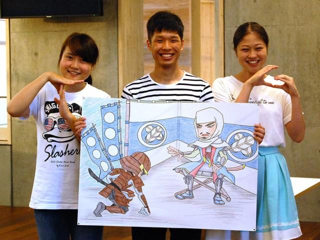 「T」「G」のサインをつくり来場を呼び掛けるメンバー。左から、川崎さん、榎並さん、山貫さん