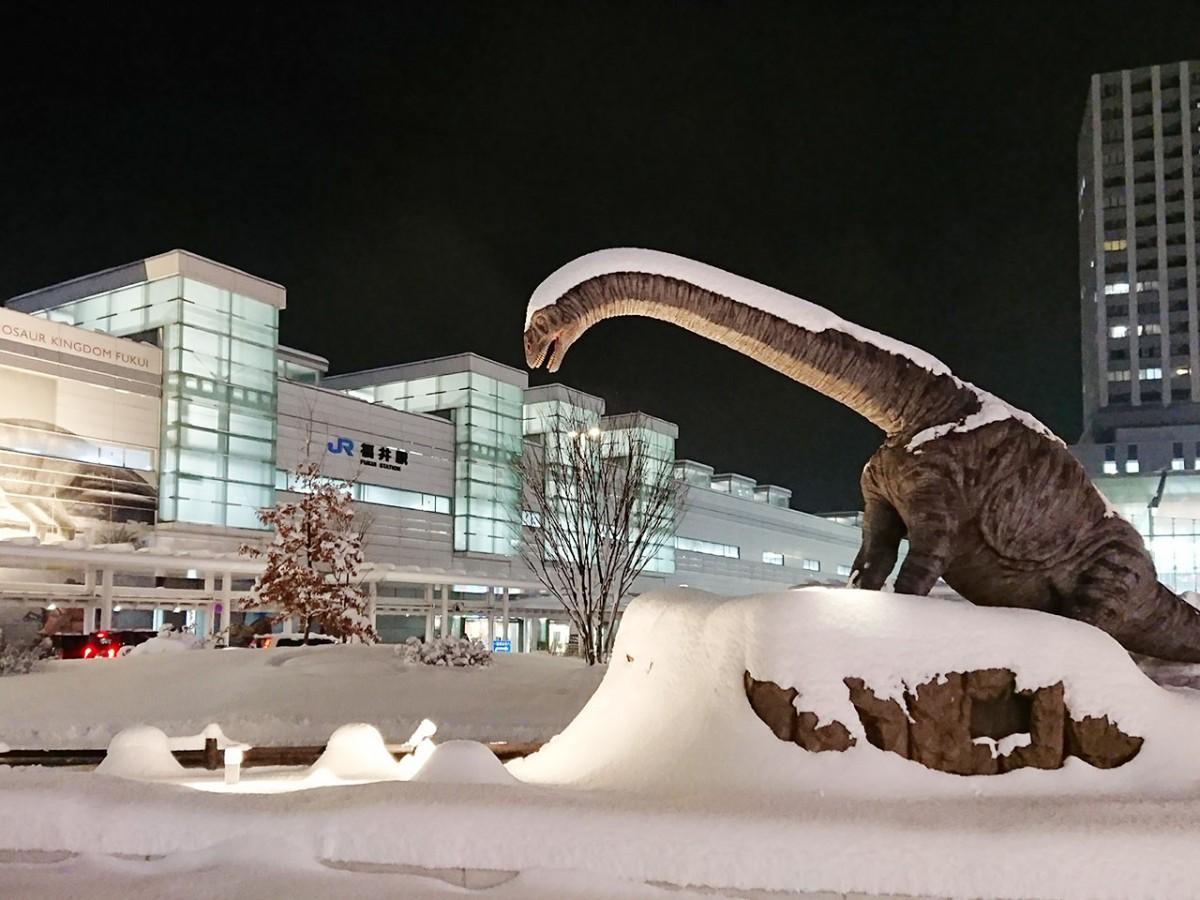 雪をかぶったフクイティタンのモニュメント