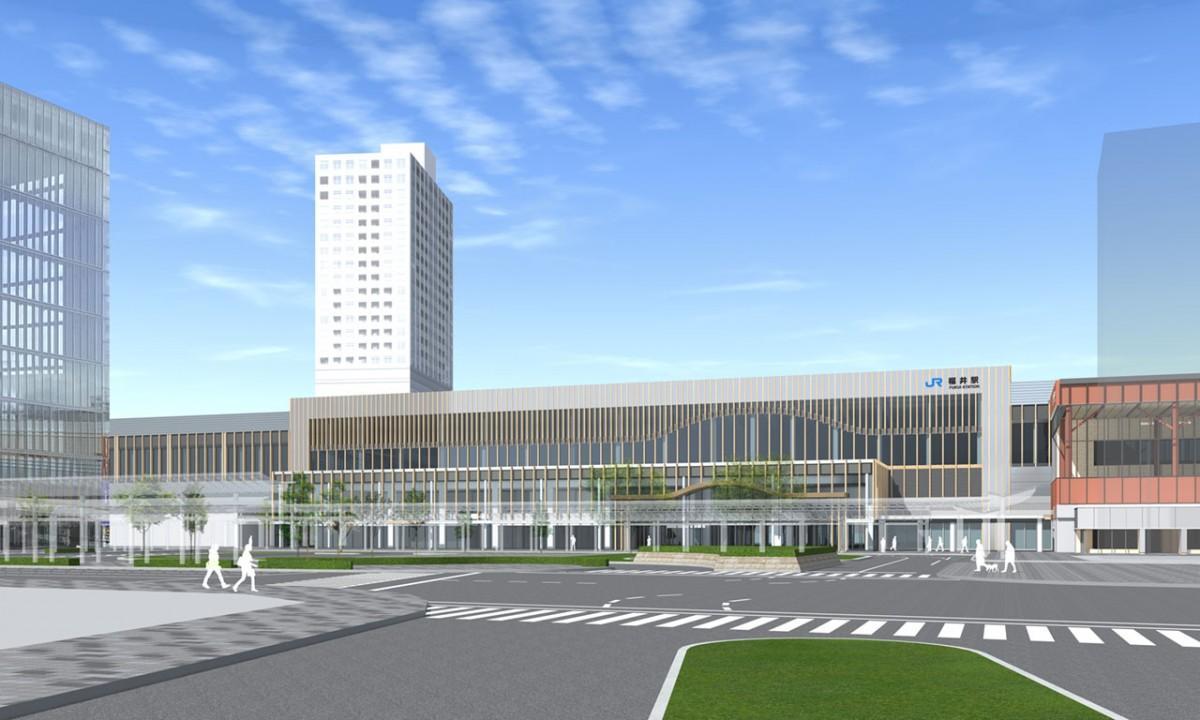 デザイン案A案「悠久の歴史を未来へつなぐシンボルゲートとなる駅」 ©2017 鉄道・運輸機構、福井市
