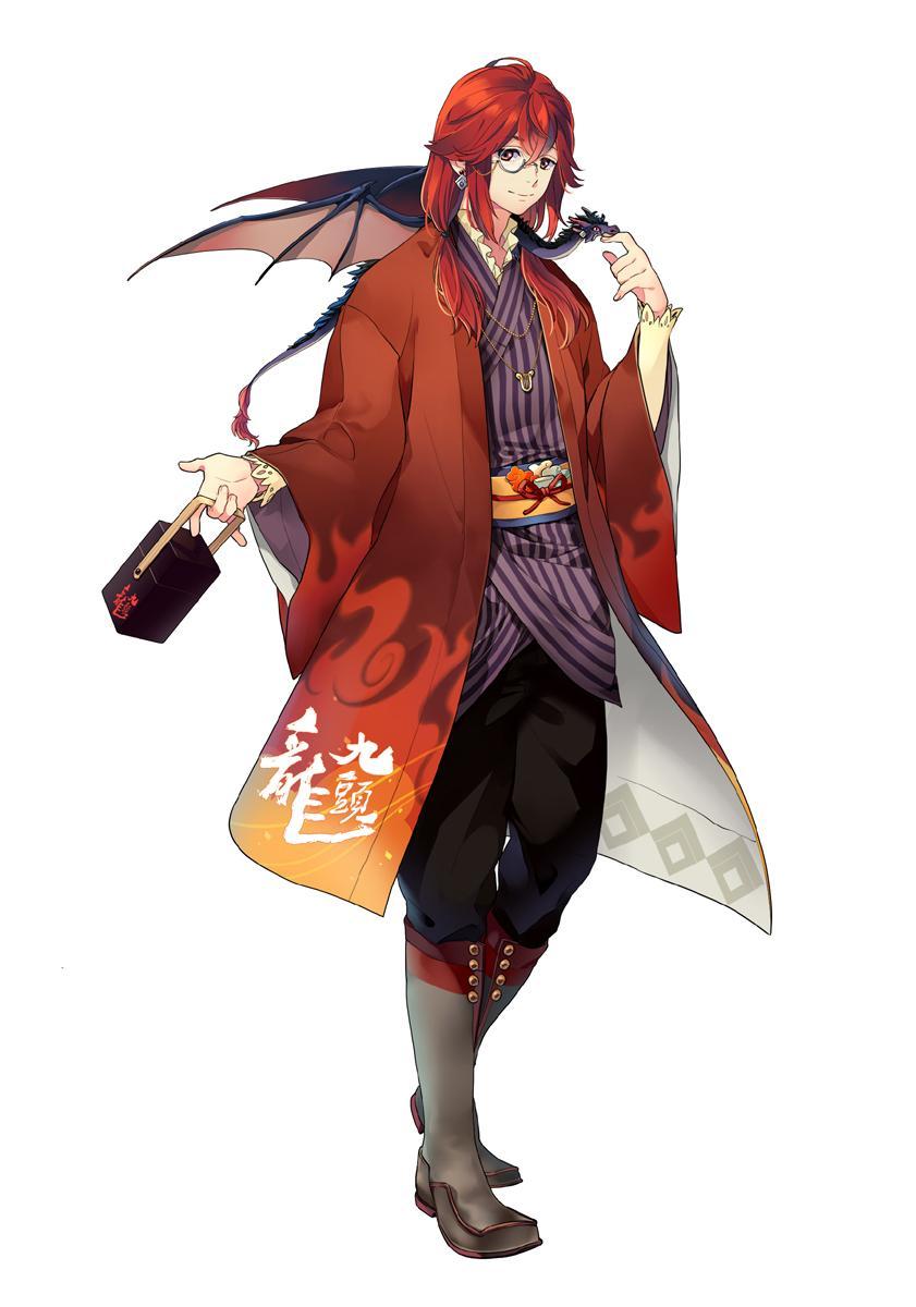 キャラクター化された「九頭龍」には、鯖江市指定文化財の「石田縞」もデザインに盛り込まれた。石田縞は「九頭龍」ラベルのモチーフにもなっている ©BANDAI NAMCO Entertainment Inc.