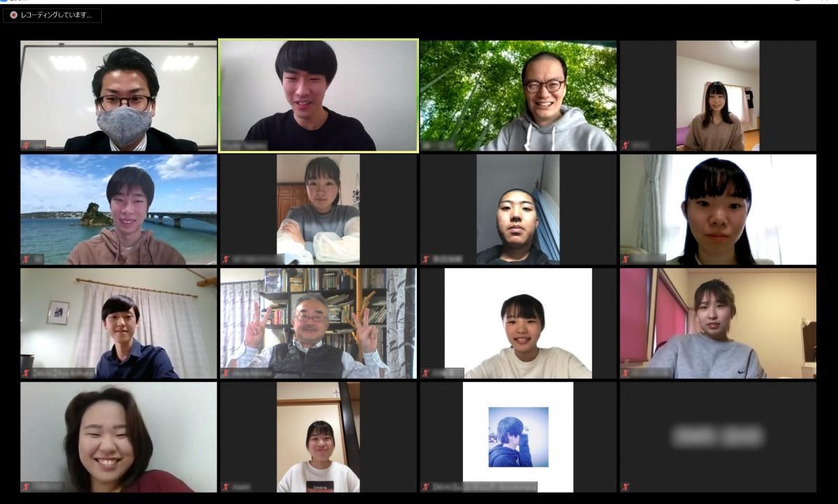 ビデオ会議で行われた1期生の活動報告会の様子。「BEAU LABO Online」も同様のシステムで展開する