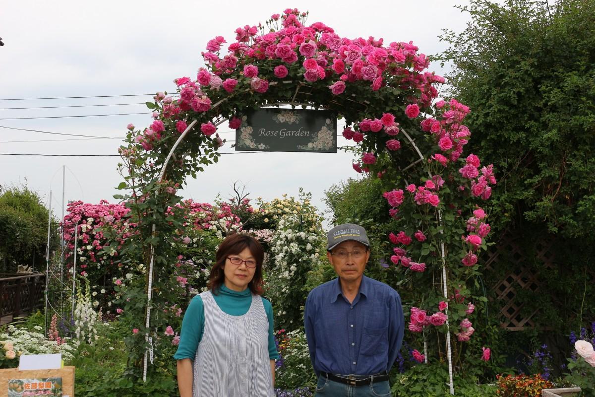 佐藤梨園でバラを育てる佐藤吉則さんと妻のとも子さん(2018年撮影)