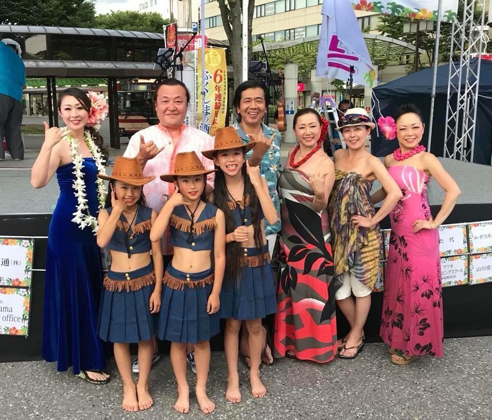 「ハワイアンフェスinふくしま飯坂」に出演するダンサーたち