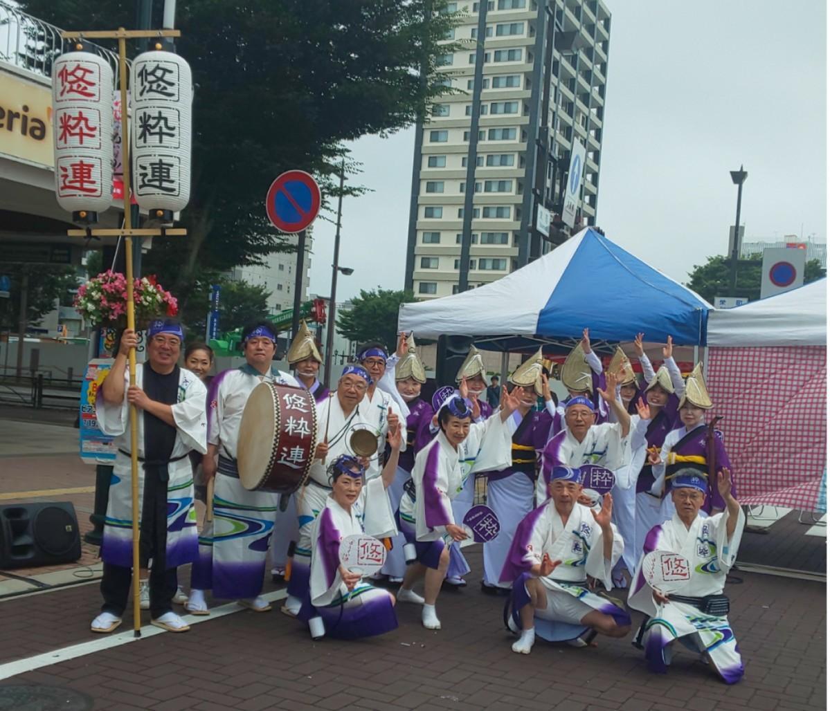7日の「福島七夕まつり」で踊る「悠粋連」のメンバー