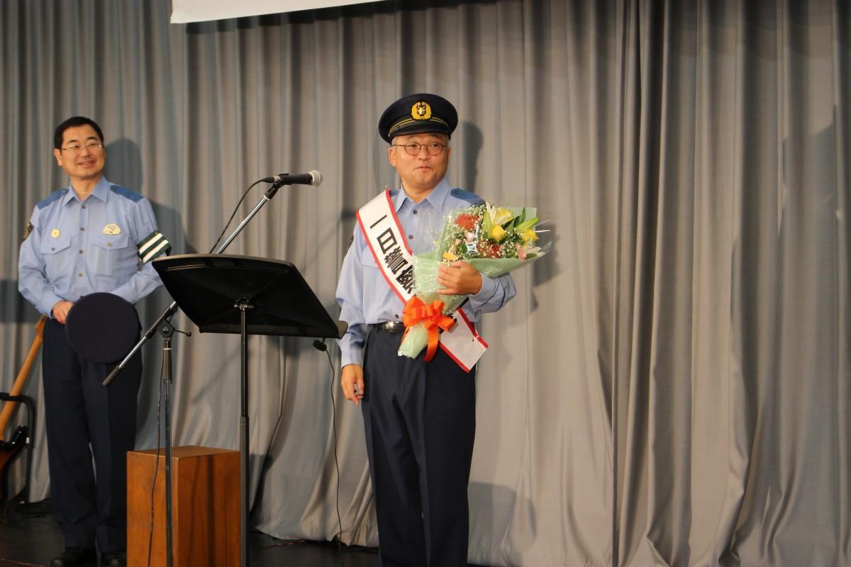 二本松警察署の一日警察署長に任命された俳優の斉藤暁さん