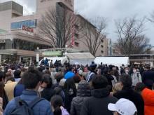 福島駅前に「復興の火」 セレモニーに1000人超、観覧に長蛇の列