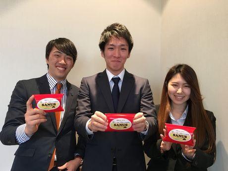 営業部長の山本尚輝さん(左)、社長の有賀祐太さん(中)、副社長の土肥玲奈さん