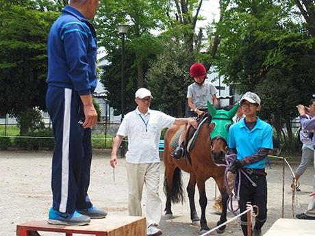 ポニー乗馬体験を楽しむ子どもたち