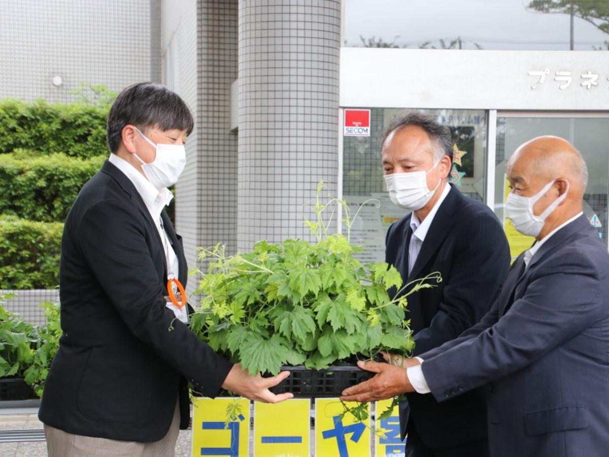 長尾常史さん(左)にゴーヤの苗を渡す伊藤高広さん(中央)と森田政吾さん(右)