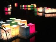 京都・伏見で灯籠流し 色とりどりの明かりが水面に