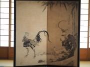 伏見・海寶寺で「伊藤若冲・群鶏図」のレプリカ展示 小中学生のスケッチ展も