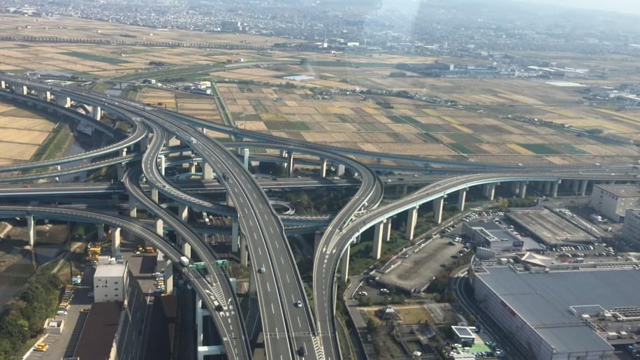 上空から見た久御山ジャンクション
