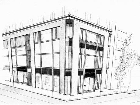 国内5店舗目となる直営店「ボッテガ・ヴェネタ 銀座」イメージ図。パームウッドと大きな縦型の窓のルーバーが特徴的。