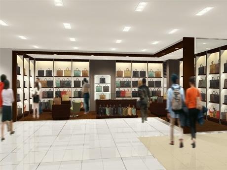 「東急ハンズ銀座店」内、9階「ハンズコレクション」フロアのバッグコーナー外観図