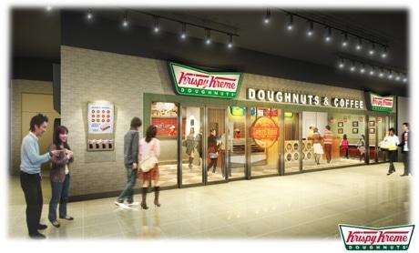 クリスピー・クリーム・ドーナツ日本2店舗目となる有楽町イトシア店の店舗イメージ図。1号店の新宿サザンテラス店同様「ドーナツシアター」を導入する。