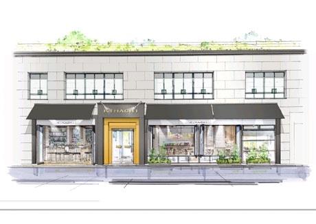 創業20周年を迎えることから行われる「KIHACHI 銀座本店」のリニューアル。各フロアごとにコンセプトを明確にし、席数も増やす。写真は外観イメージ図。