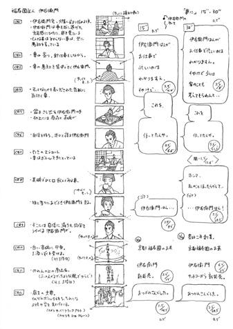 中島信也さんが描いた、サントリー/「伊右衛門」の絵コンテ。会場ではこれら原画が約200枚展示されている。