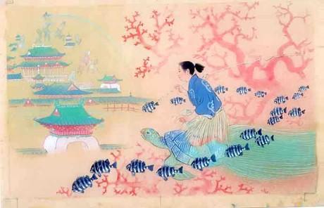 「浦島太郎」絵=笠松紫浪さん