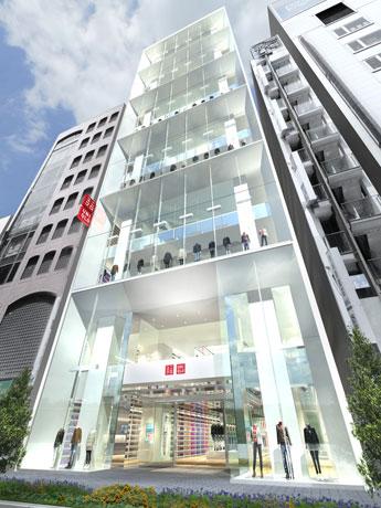 「ギンザコマツ東館」1階~12階にユニクロがグローバル旗艦店を出店する