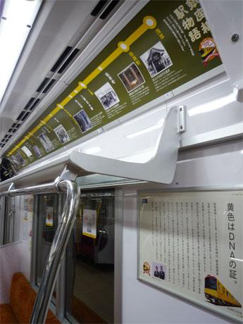 窓上片面を使って、銀座線の歴史を紹介