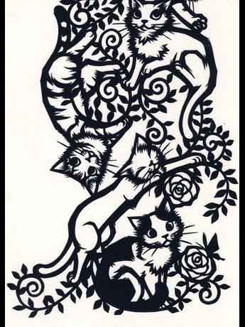 さとうみよさんによる切り絵「猫の木(部分画像)」(2万7,300円)